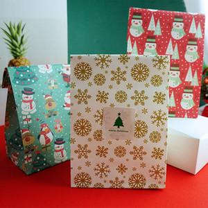 Nuevo regalo de Navidad Embalaje Bolsita muñeco de nieve Árbol Pingüino Alimentación Bolsa de bricolaje Hornear Snack-Bolsa de papel Kraft de bolsillo FWE1900 plana