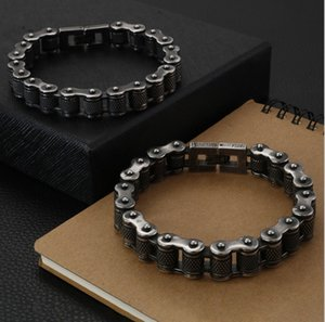 "13MM Heavy Vintage Men Black Brush Stainless Steel Bike Motorcycle Chain Bracelet Mens Biker Bracelets student Jewelry 7.5""-9"""