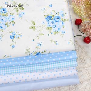 tela de algodón azul de la flor de Rose Impreso 40cmx50cm TIANXINYUE 5pcs para acolchar mosaico tecido tela ropa de cama ropa tissus