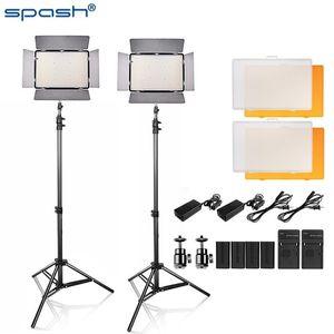 TL-600S LED 비디오 라이트 키트 3200K / 5500K 스튜디오 라이트 / 카메라 캠코더 램프 IN1 4 개 NP-F550 배터리 및 토트 백으로 spash와 2