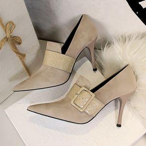GBHHYNLH New 2020 Herbst-Winter-Mode-Frau lädt hohe Absätze Frauen Ankle Boots aus Leder Sexy Spitzschuh sexy 955-12
