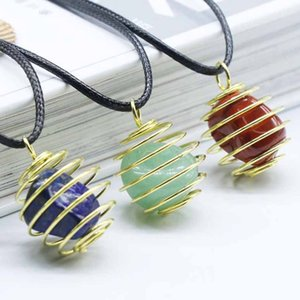 Wholesale 10 pcs Gold Plated Wire Wrap Irregular Shape Many Colors Quartz Stone Pendant Rope Chain Necklace Charm Jewelry