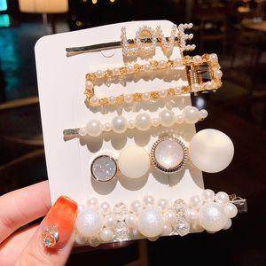 1set manera coreana de la perla de las horquillas de muchachas de las mujeres elegantes pinzas de pelo del Pin Barrettes Accesorios Hairclip Headwear del tocado Hairgrip
