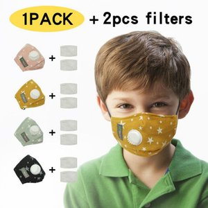 4 colors Kids Face Masks Stars Printing Face mask with Breathing Valve Designer Mouth Cover with 2pcs filter YYA404 200pcs