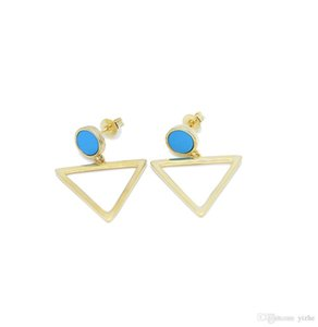 2017 new arrive silver gold filled triangle charm round turquoise studs girl women classic fashion jewelry earring