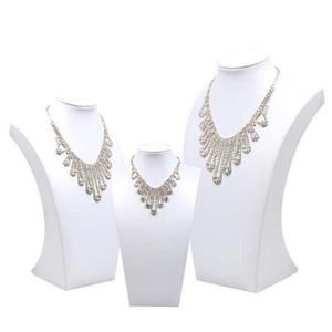 Новая мода белый кожаный PU дисплея ювелирных изделий ожерелья Бюст Подвески Stand Choker держатель ЮВЕЛИРНОГО Rack Показать 3 Параметры модели