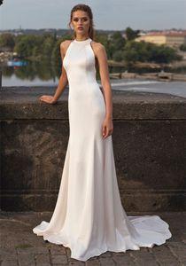 O-Neck Slim Natural Mermaid Wedding Dresses Simple Lace Back Fishtail Sleeveless Bridal Gowns 2021 Custom Online Robe De Mariee Formal