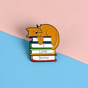 """""""I LOVE BOOKS"""" Cute Metal Pins Funny Dog Lying on the Book Brooches Badges Bag Accessories Lapel Pins Jewelry Gifts for Friends"""