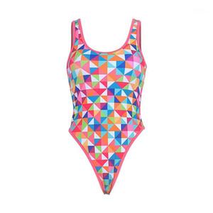 Wist Bathing Suits Summer Backless Designer Swimwear Geometrical One Piece Bikinis Womens Sexy Scoope Neck High