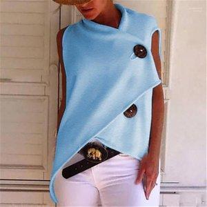 Yaz Moda Kısa Kollu Kadın Yaz Bayan Moda Tees Gevşek Düzensiz Düğme Bayan Tshirts Designer Tops