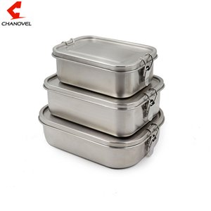 CHANOVEL 304 Edelstahl Lunch Box Single Layer Adult Mittagessen-Behälter versiegelt Leakproof rechteckig mit Teiler T200902