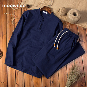 Two pieces Autumn men Cotton and linen shirts Long sleeves men's casual shirts men big size M to 5XL (Shirt + trousers) 200925