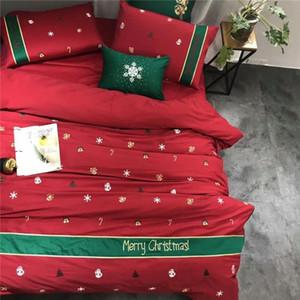 Luxe Red Christmas Queen size King Bedding Set décoratif en coton égyptien couverture broderie couette draps de lit fixé Taie