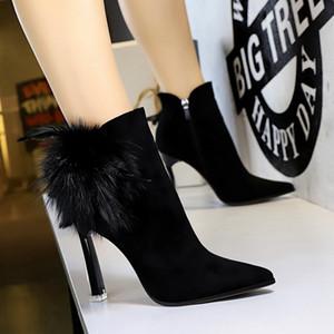 Size 34-40 3 Colors Women Ankle Boots Thin Heels Bowtie Zipper Bling Women Shoes Sweet Simple Boots Women Footwear