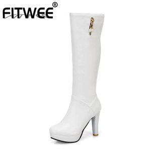 FITWEE Women Knee High Boots Round Toe Platform Thin High Heel Boots Zipper Solid Color Outdoor Ladies Footwear Size 32-43