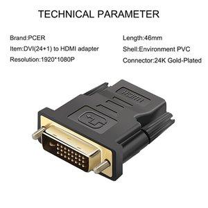 24K GOLD Consumer Electronics Tv Ordinateur Dvi -D Homme (24 1 Pin) Pour Hdtv Femme (19 -Pin) Hd Moniteur d'affichage Adaptateur Hdtv nouveau