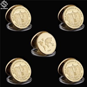 5pcs Gold Plated Coin Brazil Christ The Redeemer New Seven Wonders of The World Coins