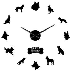 Needles German Wall Wall Art Diy Spiegel Big Deutscher Effect Giant Clock Dog Shepherd Elsässer Wand Mit Wolf Clock Schferhund lLWQi