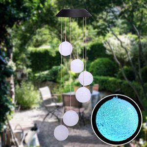 Corredor de estilo de control de luz LED inteligente solar de onda de la bola del carillón de viento decoración de luces pendientes perlas panel solar Negro de colores de luz