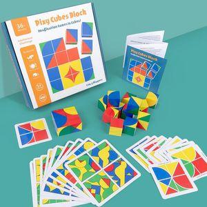 DIY Technic Строительные блоки детей раннего Деревянный куб пространственное мышление Логика игры Интеллектуальные образовательные Кирпичи Подарки Детские игрушки