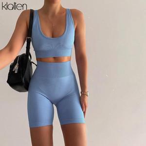 KLALIEN top solide simple décontractée et un pantalon deux pièces ensemble maigre femmes de la rue d'été short de sport cycliste élastiques fixés dames
