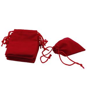 100PCS / LOT الأحمر المخملية الرباط مجوهرات هدايا حقائب الحقائب HOT
