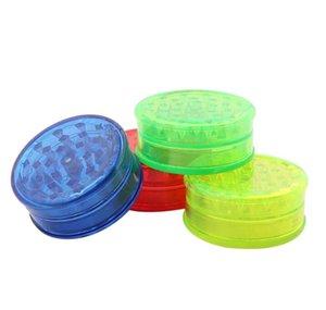 Molinillos de humo de tabaco de 60 mm Grinder de plástico 3 LayerTransparent plástico Mills dientes encajan amoladoras coloridas para el humo Accesorios GGA3624-1