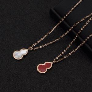 X en acier inoxydable exquis Simple Blanc Rouge Shell Calabash Pendent Collier Bracelet en acier titane Set Gourd Collier Bracelet Moq1