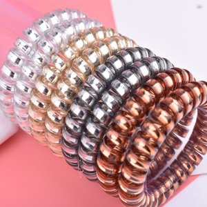 Wholesale Hair Rings 10 Pcs Telephone Wire Hair Ties Bands for Women Girls Transparent Candy Color