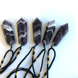 gioielli ciondolo collana di cristallo Amethyst naturale (cristallo grezzo potere lucido) a doppia punta Crystal Tower gioielli ciondolo HWF2416