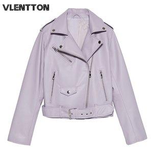 Spring Autumn With Sashes Pu Faux Leather Jacket Women White Black Zipper Slim Short Biker Jackets Coat Female Outwear Tops 200921