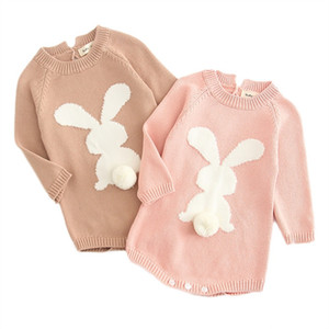 Fashion Cartoon Knitting Rabbit Pom Sweater Baby Girl Rompers Jumpsuit Cotton Tops Outfit Clothes Set Newborn Toddler 0-24M Kid