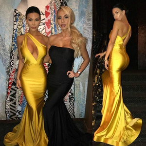 Cheap Sexy One Shoulder Prom Dresses Long Formal Evening Party Gowns Mermaid Oscar Red Carpet Celebrity Dresses Vestidos de fiesta largos