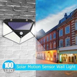 PIR Motion Sensor 100LED Sunlight control 3 sided Solar Energy Street light Yard Path Home Garden Solar Power lamp Wall Light SEA1970