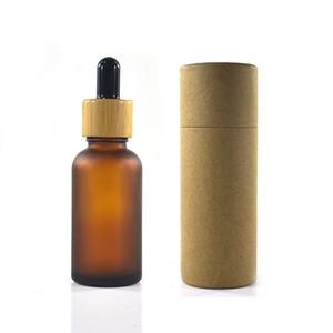 100pcs 30ml mattierte Braunglasflasche mit Bambus Kappe mit Verpackungs Skala dropper Papiertubus