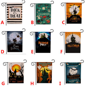 Halloween Linen Yard Garden Flag Trick Treat Ghost Happy Garden Decoration Flag Outdoor Double-sided 9 Style Free DHL HH9-3279