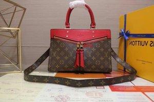 M44195 Popincourt New Fashion Vermelho Brown Handbag Mulheres Bolsas de Ombro Hobo Bolsas Top Alças Boston Corpo Cruz do Messenger Bolsas de Ombro