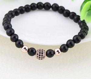 Men Bracelet Brand Fashion Black CZ Natural Stone Matte Beads Charm Bracelets Men Jewelry
