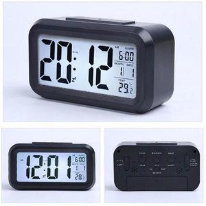 Smart Sensor Nightlight Digital despertador com temperatura Termômetro Calendário, silencioso Desk relógio de mesa de cabeceira Despertar Snooze DWD926