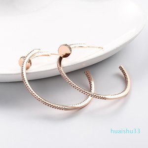 Hot Sale Korea popular big ear circle earring personality round silver needle earring simple enchased female thin face earring