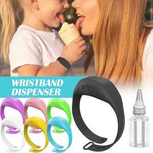Free Usps 8~10Days Wristband Hand Dispenser This Wearable Hand Sanitizer Dispenser Pumps Disinfectant Sanitizer Bracelet Dispensing Tool