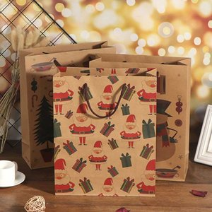 DIY Christmas Gift Bags Xmas Packing Bag Candy Box Paper Handbag With Handle Krafts