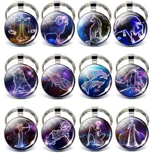 12 Constellations Keychain Constellation Fashion Double Side Cabochon Glass Ball Rings Zodiac Sign Key Chain