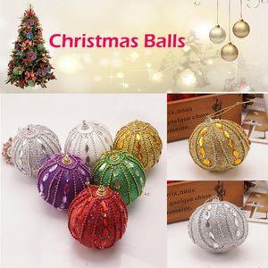 Christmas Ball Rhinestone Glitter Baubles Xmas Balls Tree Ornament Decoration 8CM #2S30