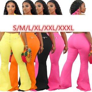 Donne pantaloni a vita bassa Solid Colore Bootcut Pantaloni con la chiusura lampo sottile di modo Figura intera Womens Joggers