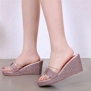 Bling Wedge Shoes Women Slippers 2020 Fashion Summer Glitter Women Sandals Platform Ladies High Heels oLPT#
