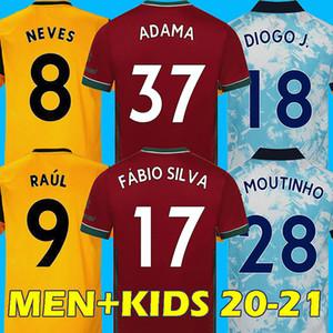 20 21 Fußball Jersey Wölfe Fußball Hemd Wanderer J.otto Poddence Raul Neves Diogo Adama Coady Moutinho Bennett Thailand Männer Kids Kits