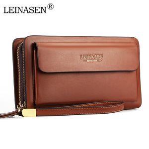 Wholesale LEINASEN Men Wallet with Coin Pocket Double Zipper Business Male Large Capacity Clutch Bag 50PCS lot