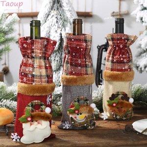 Ana Sayfa Noel Navidad için Taoup Keten Ekose Çizgili Merry Christmas Şarap Şişe Kapağı Süsler Christams Masa dekorları Yılbaşı Dekoru