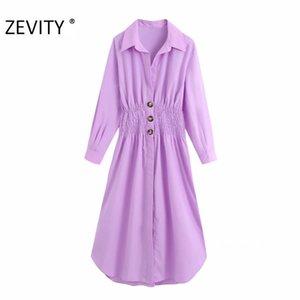 ZEVITY Frauen Herbst feste Farbe elastisches Taillenhemdkleid weibliche lange Hülse vestidos chic Einreiher beiläufige Kleider DS4245